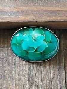 Vintage-enamel-Asian-flower-Guilloche-Cloisonne-Brooch