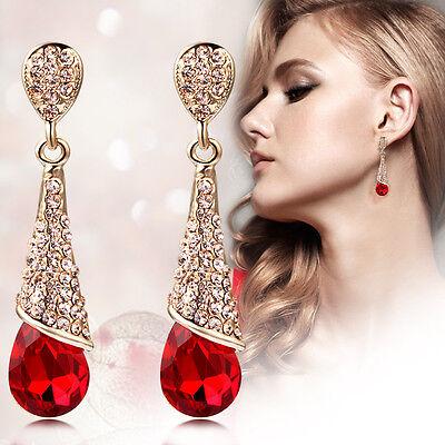 Fashion Womens Rhinestone Long Water Drop Charm Crystal Dangle Stud Earrings New