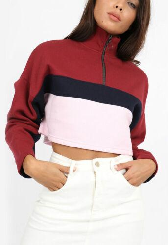 Womens Burgundy Colour Block Stripe Zip Long Sleeve Cropped Sweatshirt