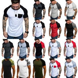 Mens-Summer-Raglan-Sleeve-Casual-Tops-Baseball-T-Shirt-Slim-Muscle-Tee-Shirts