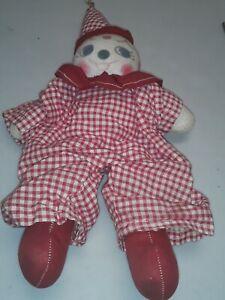 Vintage-Clown-Doll-Figurines-RAGDOLL-OLD-HANDMADE-12-034-CREEPY
