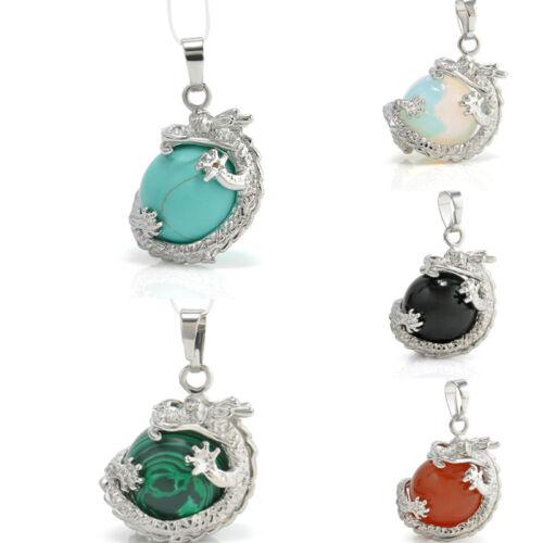 Rétro argent Naturel cristal hexagonal Gemstone dragon Collier Pendentif Bijoux