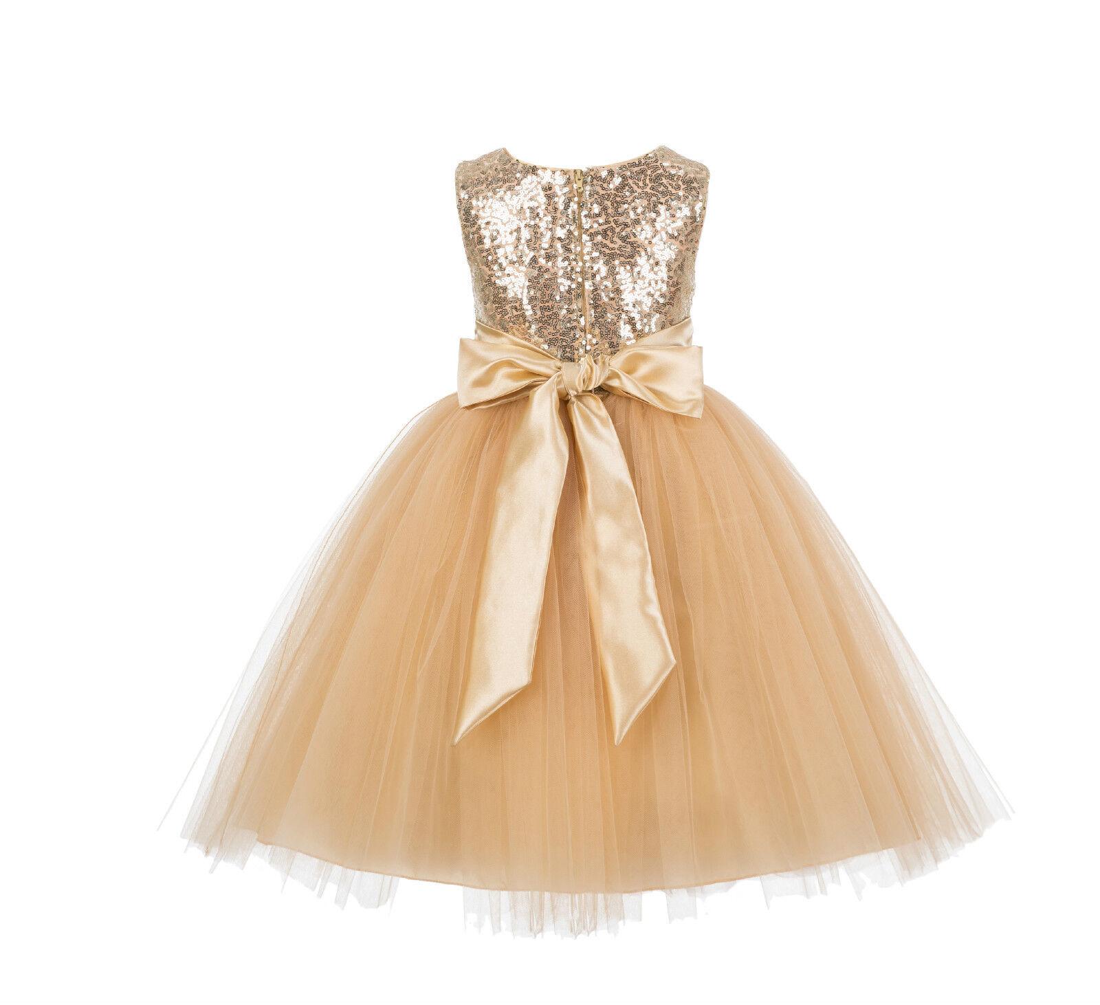 Wedding Formal Sequins Mesh Flower Girl Dresses Tulle Birthday Graduation J122F