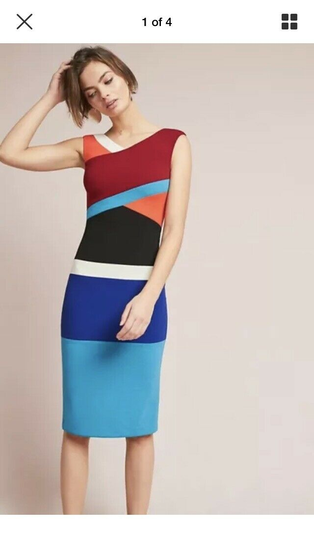 RARE  NWT Sz 6 Anthropologie Tracy Reese Geometric Farbe blocked Dress