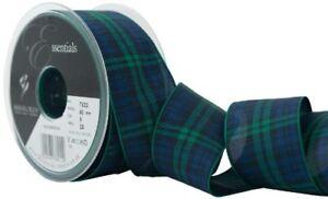 Berisfords-40-mm-Polyester-Tartan-Ribbon-Black-Watch