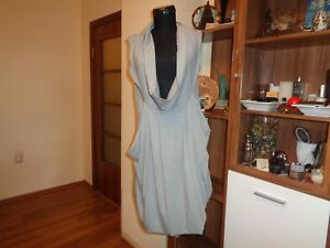 MYRINE-amp-ME-STRETCH-JERSEY-GREY-COWL-NECK-DRAPED-RELAXED-TUNIC-SHORT-DRESS-S