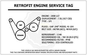 2008 ls7 7 0l corvette retrofit engine service tag belt routing image is loading 2008 ls7 7 0l corvette retrofit engine service