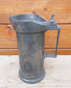 Antique-Large-Mug-Tin-18th-53rd-Century-Art-Pop-Deco-Vintage