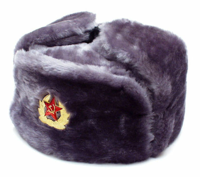 Authentic Russian Gray Ushanka Military hat w// SOVIET RED STAR HAMMER /& SICKLE