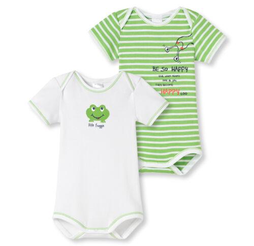 SCHIESSER Baby Body Frösche Doppelpack Gr 68-104 Bodies Halbarm 100% CO NEU