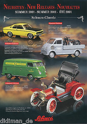 Genossenschaft Schuco Neuheiten Sommer 2001 Prospekt Modellautos Brochure Catalog Model Cars Dinge FüR Die Menschen Bequem Machen