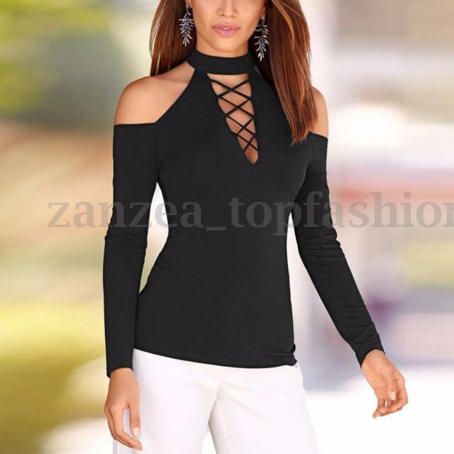 891e0125 Stylish Women Long Sleeve Low Cut Plunge Lace up Choker Neck ...