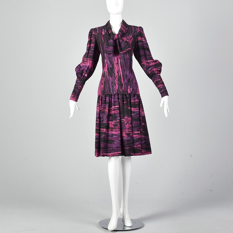 Medium Pauline Trigere 1980s Drop Waist Dress Vin… - image 2