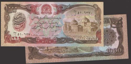 1000 Afghanis,UNC Afghanistan p 61b,P61b,1369 1990