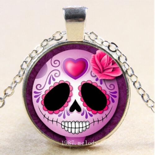 Photo Cabochon Glass Silver popular pendants Necklace(Purple Skull rose