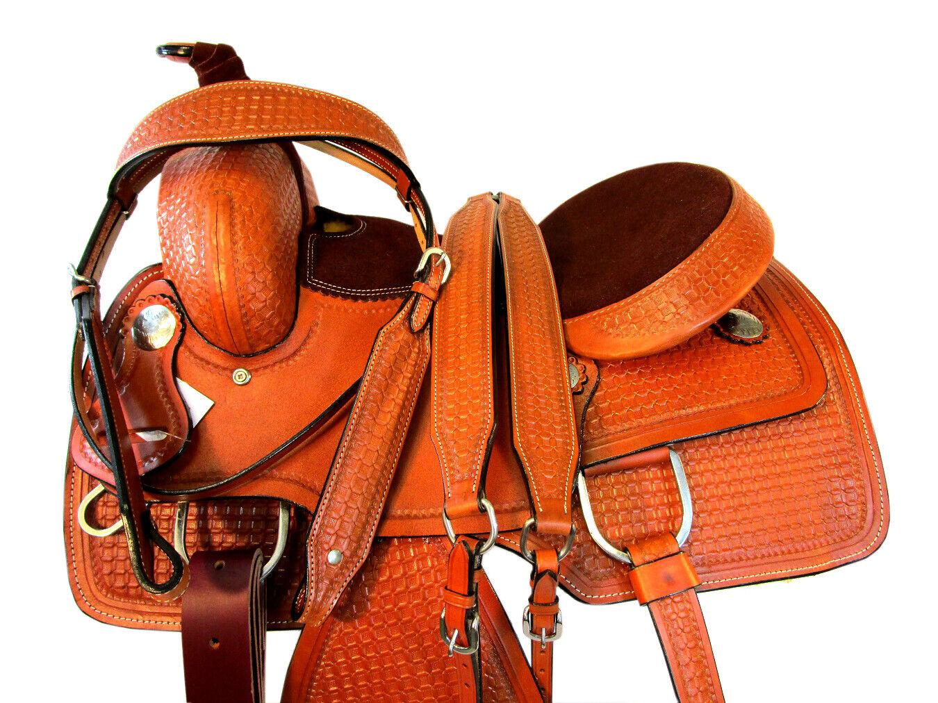 Wade Estilo Trabajo Rancho amarrar Resistente Cuero Tachuela del caballo SADLE 15  16  17