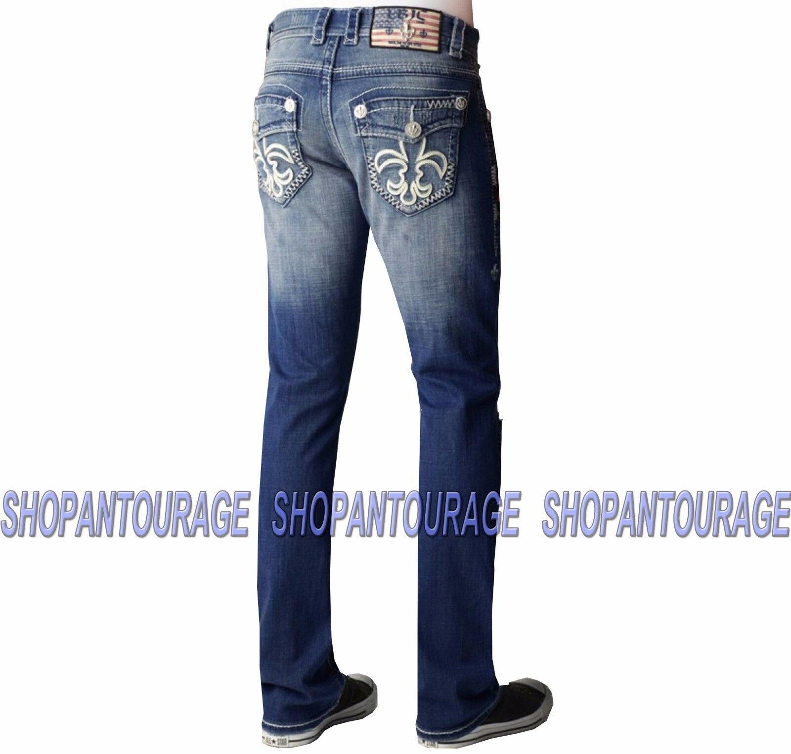 Laguna Beach Crystal Cove M-2-E-D Men`s New Destroyed bluee Slim Straight Denim