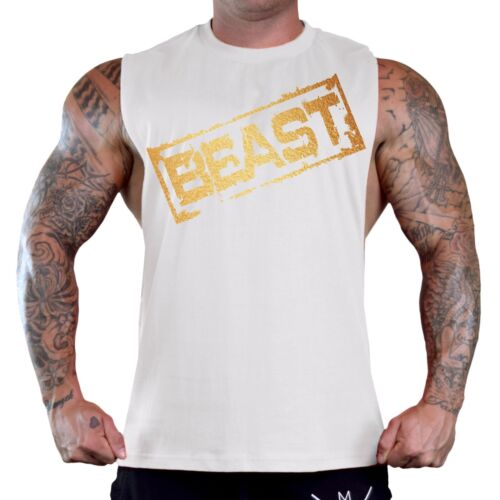 Men/'s Gold Beast Stamp White T-Shirt Tank Top Workout Fitness Muscle gym weights