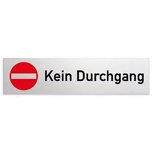 Aluminium-Schild-034-Kein-Durchgang-034-160-x-40-mm-Tuerschild-Privat-Tuer-Wand