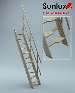 Wooden Staircase Kit Loft Attic Stairs Ladder Space