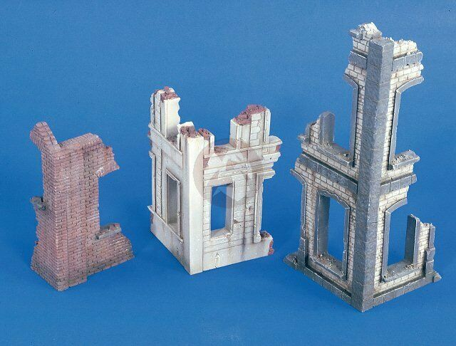 Verlinden 1 35 Ruined Building Corner Sections WWII (3 different types) 2436