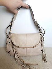 Lucky brand taupe gray Leather Shoulder Bag Tote Purse handbag pocketbook hobo