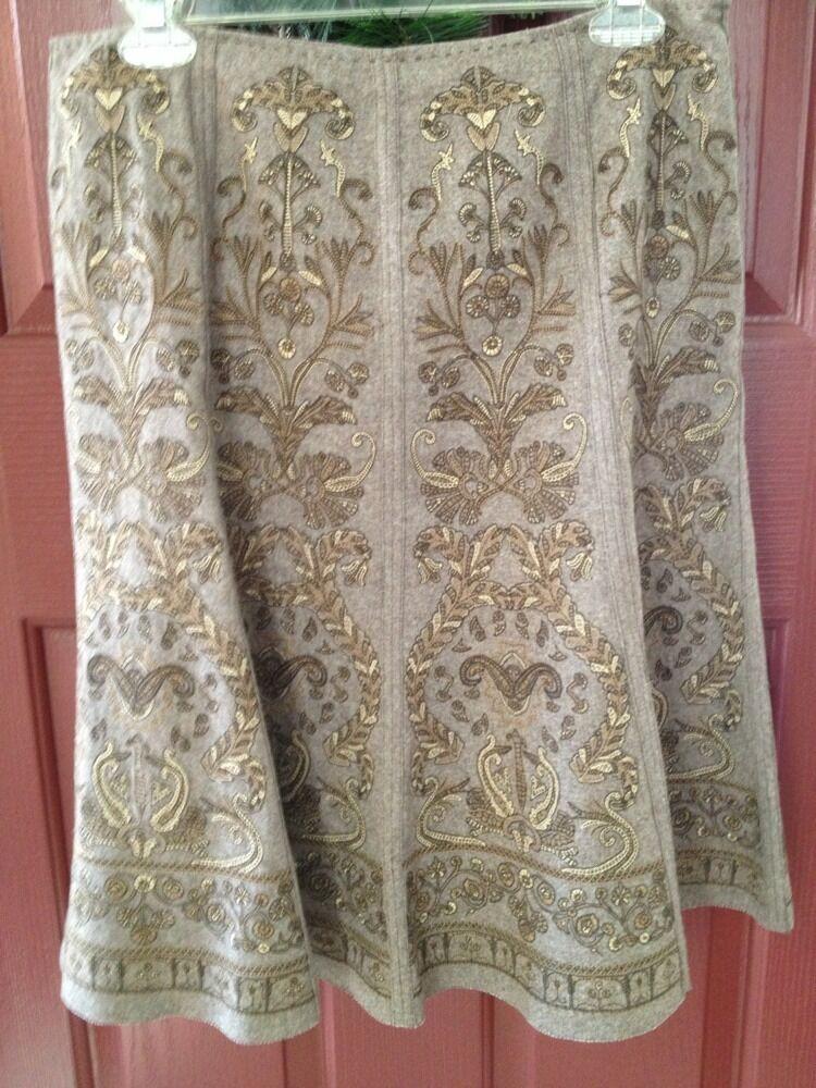 ELIE TAHARI Beige Taupe Wool Quilted Design Fringe Detail Skirt Sz 8