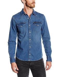 Lee Western Denim Shirt New Men s Blue Stance Jean Shirts Slim Fit ... 9b96457e2