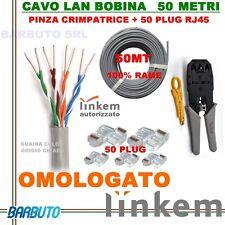 KIT 50MT DI CAVO LAN CAT5e UTP 100%RAME OMOLOGATO LINKEM + PINZA + 50 PLUG RJ45