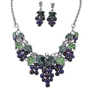 EG-Prevalent-Women-Grape-Pendant-Choker-Chain-Necklace-Earrings-Jewelry-Set