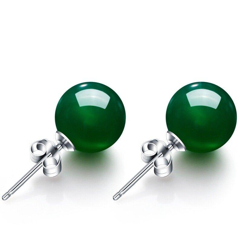 Silver Agate Earrings Genuine Silver Stud Earrings with Green Agate Stone TOP