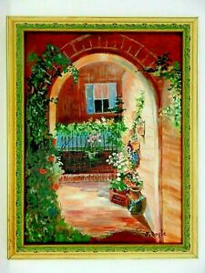 "M.JANE DOYLE SIGNED ORIG.ART OIL/CANVAS PAINTING ""THE ARCHWAY""(STREET ART)FRAMED"