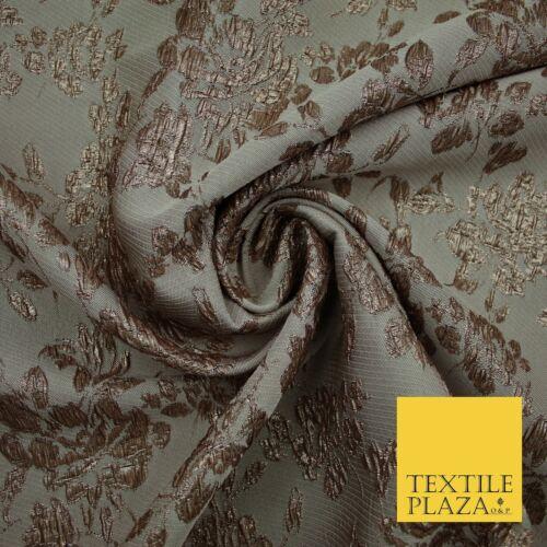 TAUPE BROWN Creased Metallic Rose Flowers Textured Brocade Jacquard Dress Fabric