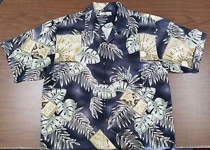 Bahama 100 de hoja tropical seda Camisa manga Tommy verde negro corta Grande SZqfq1