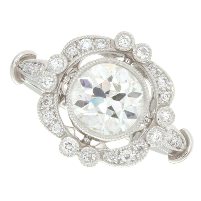 18kt 1.70ct Certified Old European Cut Antique Diamond Engagement Ring
