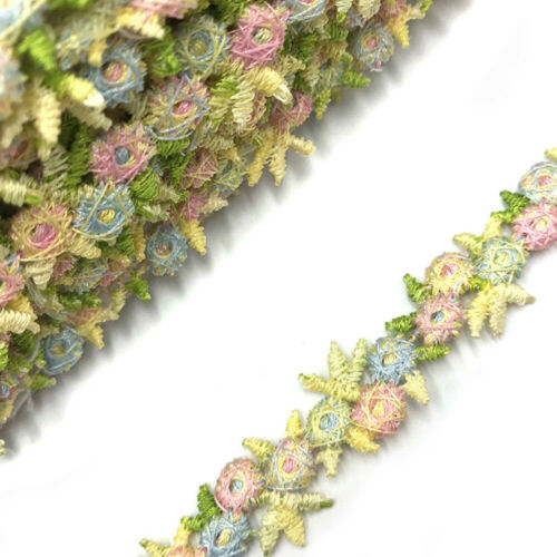 Flower Embroidered Lace Trim Ribbons Fabric DIY Sewing Craft Materials Clothes