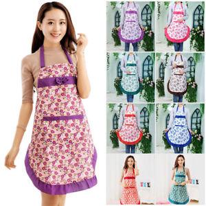 Women-Vintage-Princess-Kitchen-Floral-Pocket-Cooking-Apron-Dress