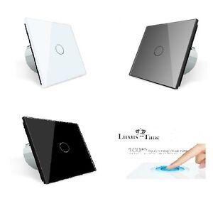 wechselschalter glas touch lichtschalter wandschalter livolo weis schwarz grau ebay. Black Bedroom Furniture Sets. Home Design Ideas