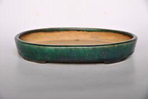 Ino Shukuho Ino Yoshiki Green Blue Glazed Older Larger Oval Japanese Bonsai Pot Ebay