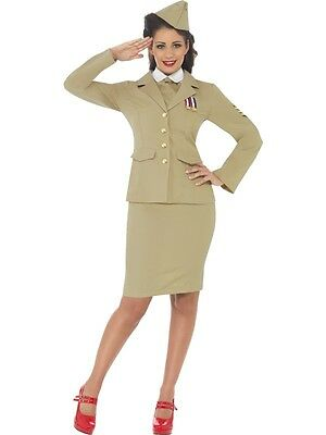 ADULT WOMENS SAND RETRO 1940's WARTIME OFFICER ARMY FANCY DRESS - 3 SIZES