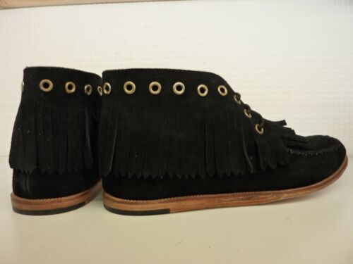 H by Hudson Anneke Black Leather Suede Lace Up Fringe Tassle Ankle Boot Moccasin