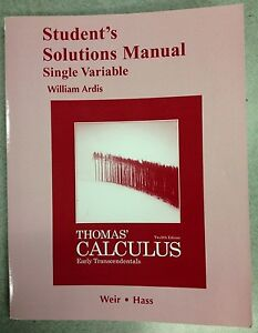 Thomas Calculus Solution Book