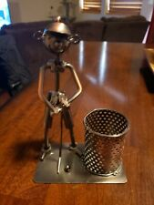 Golfer Putting On Green Metal Pen Or Pencil Holder Great Condition Fathers Day