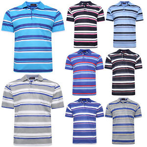 NEW-MENS-POLO-SHIRT-STRIPED-UNISEX-SHORT-SLEEVE-CASUAL-WORK-T-SHIRT-SIZE-M-2XL