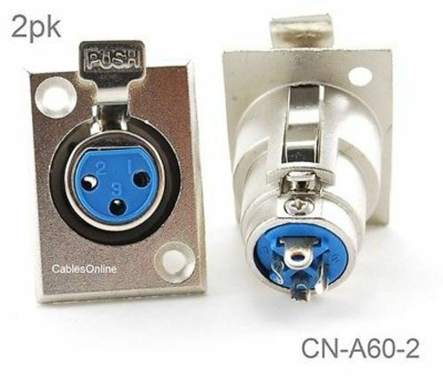 Nickel Plated Connector CN-A60-2 2-Pack XLR 3-Pin Female Jack Panel Mount