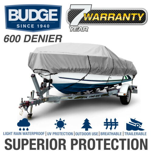 Budge 600 Denier Waterproof Boat CoverFits Center Console V-hull5 Sizes