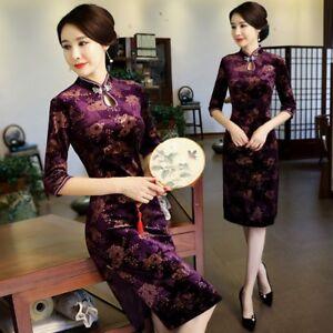 Chinese-Vintage-Velvet-Cheongsam-QiPao-Women-Long-Evening-Formal-Party-Dress