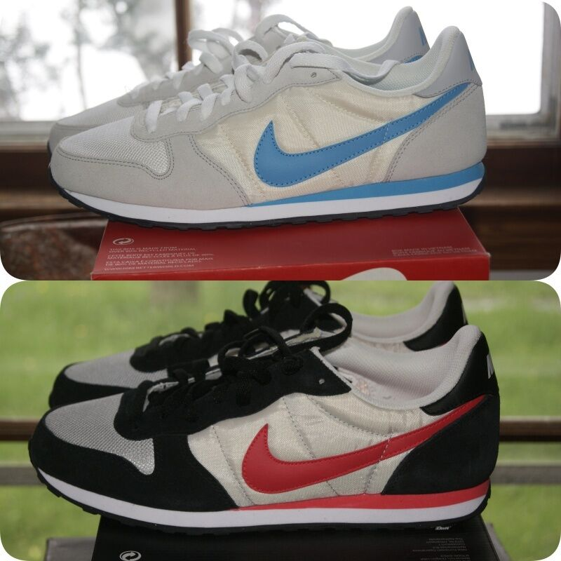 Homme Nike Genico Blanc Bleu Walk Run Sz 9.5 or 10 Noir Rouge