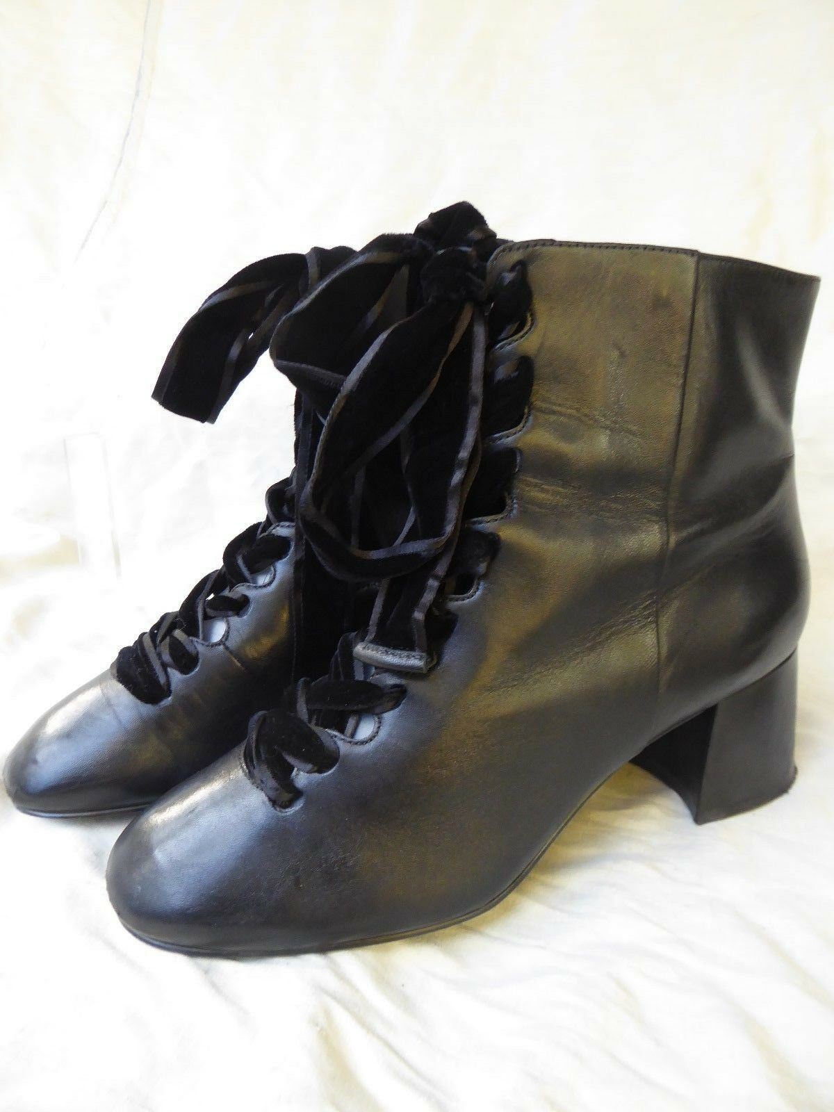 WHAT FOR botas CUIR negro talon Lacets velours T 39 PARFAIT ETAT