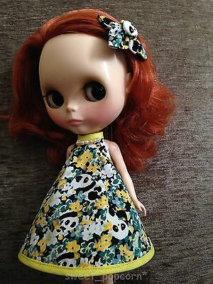 Blythe Doll Outfit Cloth panda print Dress yellow